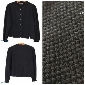 Vintage Geiger Black Cropped Wool Cardigan Sweater